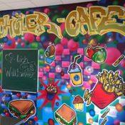 Wand Graffiti Schülercafe
